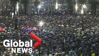 Protesters march from Victoria Park in Hong Kong, demand political reform