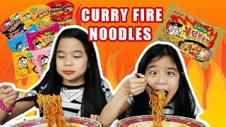 SPICY CURRY FIRE NOODLE CHALLENGE   Tran Twins