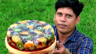 FRUIT JELLY CAKE | Beautiful and Delicious Fruit Jelly Cake Recipe | village Food Channel