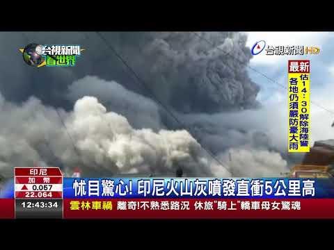 怵目驚心!印尼火山灰噴發直衝5公里高
