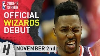 Dwight Howard Wizards DEBUT Full Highlights vs Thunder 2018.11.02 - 20 Pts, 3 Rebounds!