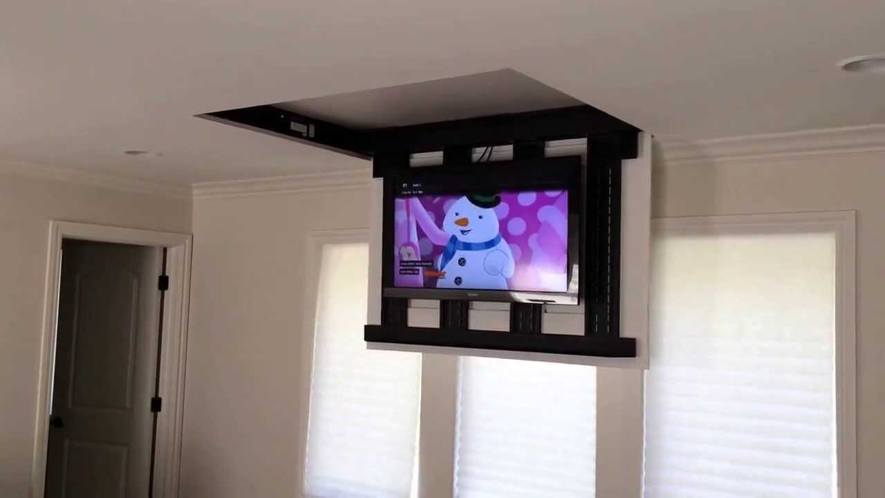 motorized fully automated flip down ceiling tv lift 46 60 120 lb youtube. Black Bedroom Furniture Sets. Home Design Ideas