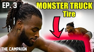 "Najee Harris flips MONSTER TRUCK tires! ""You""ll see him walk across stage as a FIRST-ROUNDER""  Ep. 3"