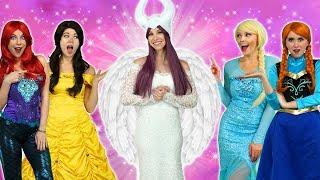 MALEFICENT TURNS GOOD. With Elsa, Belle, Ariel, Elsa, Rapunzel and Anna,
