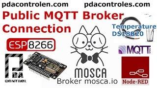 Public MQTT Broker Mosca.io & ESP8266 DS18B20  (Onewire) + Node-RED : PDAControl