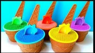 Best Learn Colors Ice Cream Cups Kinetic Sand  with Toys Surprised For Kids