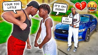FACE TO FACE WITH MY 12 YEAR OLD BROTHER DARION **I REPOED MY DADS CAR**