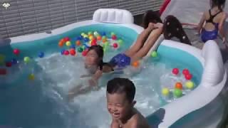 trọn bộ dụng cụ phao bơi cho trẻ em tại nhà , bé tắm thỏa thính trong sân vườn , sân thượng