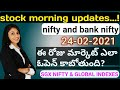 daily morning updates in telugu| as on 24-02-2021 |nifty and bank nifty|sgx nifty global indexs
