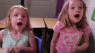 Addy and Maya's SHOW & TELL Day at Fake Toy School with Tangle Toys !!!
