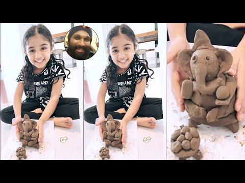 Allu Arjun's daughter Allu Arha makes clay Ganesh at home