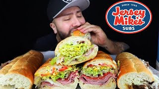 Jersey Mikes MUKBANG | Philly Cheese Steak + Italian Sub Mikes Way