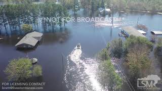 9-18-2018 Wallace, NC Drone shows historic, catastropic flooding along Cape Fear River Florence
