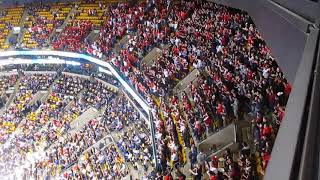 Beanpot Finals Introductions 2018. Northeastern vs. Boston University Student Sections.