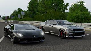 Forza 7 Drag race: Lamborghini Aventador vs Dodge Charger SRT Hellcat (800hp)