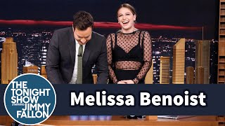 Melissa Benoist Teaches Jimmy Sport Stacking