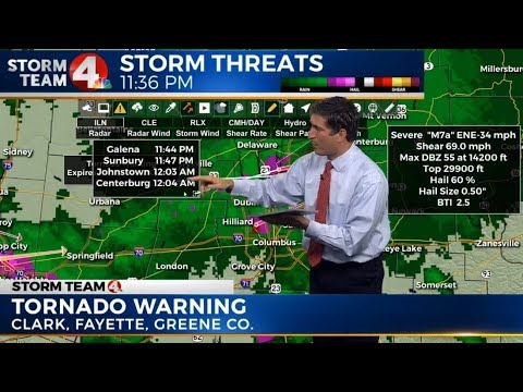 Tornado warnings in parts of central Ohio
