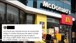 McDonald's security guard asking a Muslim woman to remove hijab
