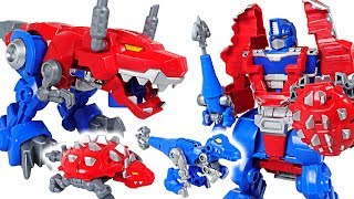 Dinosaurs are angry! Transformers Rescue Bots Optimus Prime Knight Watch! Go! - DuDuPopTOY