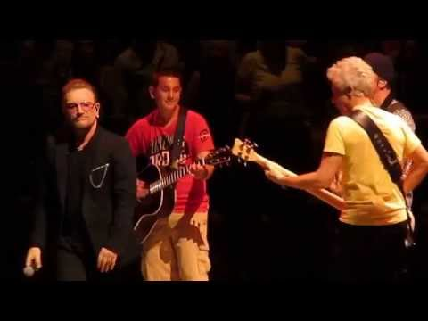U2 - Angel of Harlem (Bono gives kid guitar) - Boston Garden, Boston, MA - July 11, 2015