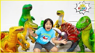Ryan with  Dinosaur in our house adventure Pretend play!!!