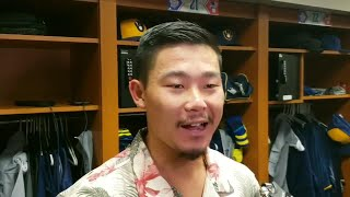 Brewers Keston Hiura talks about his big-league debut and clubhouse celebration after.
