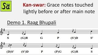 Kan-swar (grace notes) in Indian classical music - Raag Hindustani