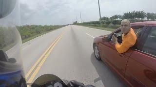 Car Tries to KILL Motorcyclist - Road Rage!