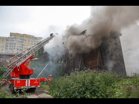 Пожар по 3 номеру на пр Ломоносова в Архангельске