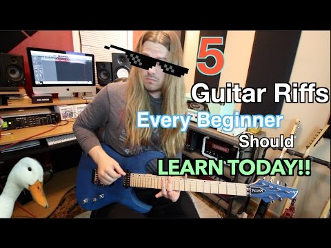 5 Easy Guitar Riffs Every Beginner Should Learn TODAY!! ( WIth Tabs)