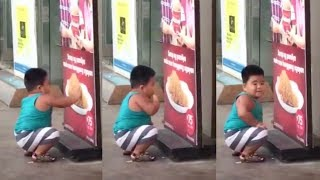 Viral: Chubby boy 'eats' chicken on poster..