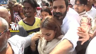 Fans irk hero Dhanush, his wife at Tirumala..
