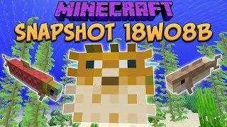 Minecraft 1.13 Snapshot 18w08b Fish Mobs! Cod, Salmon & Pufferfish (Update Aquatic)