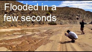 Dry river bed flooded in a few seconds (only sounds of nature)