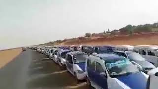 اطول صف وقود في السودان بسبب ازمة الوقود     -