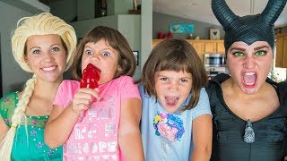 FROZEN ELSA saves Real Life Twins who got a magic GIANT Gummy Bear Sucker from Maleficent!
