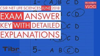 CSIR NET LIFE-SCIENCES  June 2018 Answer Key with Detailed explanations