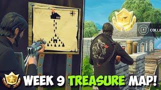 FORTNITE WEEK 9 TREASURE LOCATION! | Follow The Treasure Map Found In MOISTY MIRE
