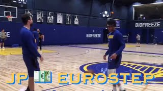 [HD] Alec Burks (ankle) conditioning + Jordan Poole drilling Euro-steps at Warriors (0-0) practice