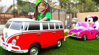 Emma Pretend Play w/ New VW Van Ride On Car Toy