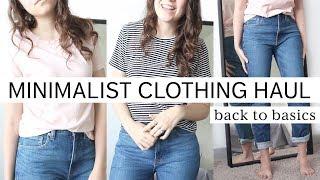 MINIMALIST BASICS CLOTHING HAUL | everlane, organic basics & thrifted