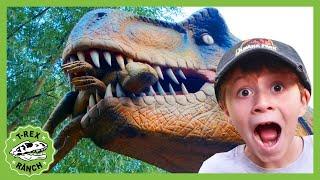 Giant Dinosaurs & Life Size T-Rex! Jurassic Dinosaur Park Adventure   T-Rex Ranch