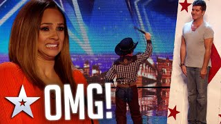 Simon Cowell joins 11-year-old KNIFE THROWER on stage   Audition   BGT Series 8