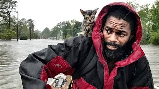 Man and 'Survivor' kitten escape floodwaters from Hurricane Florence