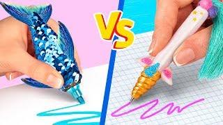 10 DIY Unicorn School Supplies vs Mermaid School Supplies Challenge!