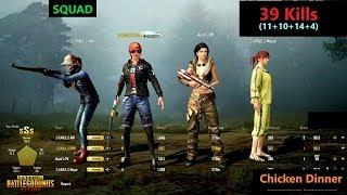 """[Hindi] PUBG Mobile   """"39 Kills"""" In Squad Chicken Dinner With AWM No Scope Kill"""