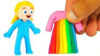LITTLE PRINCESS NEW RAINBOW COLOR DRESS ❤ SUPERHERO BABIES PLAY DOH CARTOONS FOR KIDS