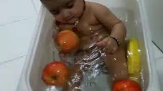 Little baby make a laugh || Funny Bathtub baby