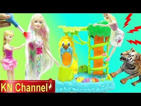 Đồ chơi trẻ em KHU RỪNG BÍ ẨN VÀ TỰ MAY ÁO ĐẦM THẬT, NHUỘM TÓC THẬT CHO BÚP BÊ KN Channel