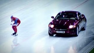 Speed Skater Vs Jaguar XK on Ice! | Top Gear Winter Olympics
